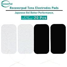 RecoverPad 20 pacco 50mm x 100mm Gel giapponese riutilizzabile fatto TENS/EMS elettrodi con gel di lunga durata lavabile Premium - Garanzia di soddisfazione al 100% senza lattice