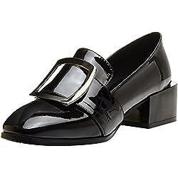 rismart Damen Pumps Büro Mid-Heel Schnalle Mode Lackleder Pumps Schuhe SN02731(Schwarz,EU38)