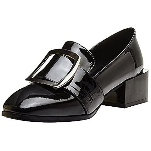 rismart Women's Ladies Pumps Office Mid-Heel Buckle Stylish Patent Leather Court Shoes