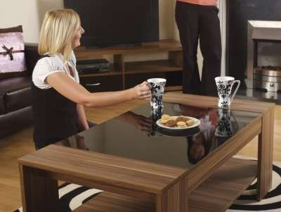 Brand New Modern Amantis Walnut Veneer Black High Gloss Detail Coffee End Side Table By Limitless Base - cheap UK light shop.