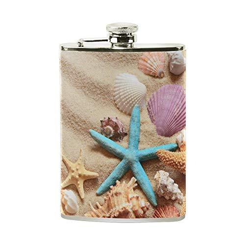 Steel Stainless Flask,Seashells On Sand Leather Pocket Funnel with Screw Top,Liquor Alcohol Whiskey Classic Hip for Men,7 OZ
