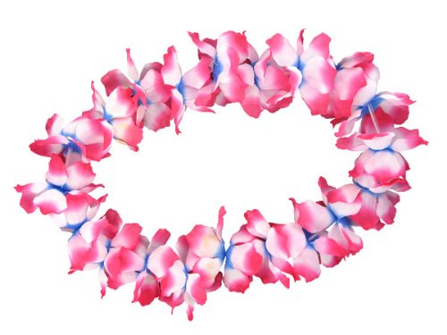 Alsino XXL Hawaiiketten Blumenkette Hula Kette Hawai Halskette 1 m blau weiß pinkblau Hawaii-Deko Party Acessoire 19
