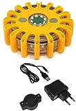 Tenzo-R 21217 LED Warnleuchte Rundumleuchte Absicherung Warnblitzer gelb mit Akku + Ladekabel