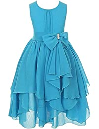 FREE FISHER Niñas Vestido Elegante de Princesa de Gasa para boda fiesta, Azul 12-