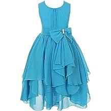FREE FISHER Niñas Vestido Elegante de Princesa de Gasa para boda fiesta