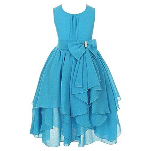 LSERVER Mädchen Sommer Kleid mit 'Schleife'-Deco, Hellblau, Gr. 122/128( Herstellergröße: 130)