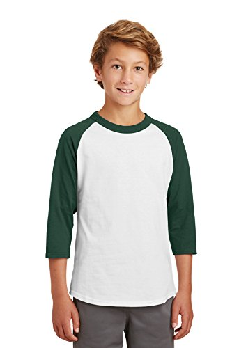 Sport-Tek® Youth Colorblock Raglan Jersey. YT200 White/Forest XS (Raglan-jersey-shirt Colorblock)