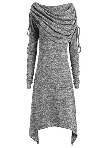 Damen Solide Geraffte Lange Foldover Kragen Tunika Top Bluse Langes Oberteil Langarm Sleepwear O-Neck Casual Pullover Shirt Stricken Sweater Strickpullover Strickpulli ()