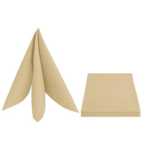 LEINEN-Design Servietten in Leinen-Optik 6er-Pack - Premium Qualität Eckig 50x50 cm champagner (Champagner Leinen-servietten)
