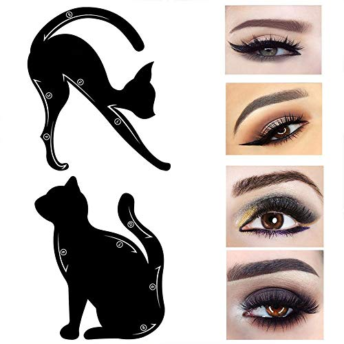 Travelmall 4PCs Stencils For Perfect Cat Eyeliner And Smoky Eyes Eyebrows Template Card Makeup Tool Stencil for The Perfect Winged Cat Eyeliner.