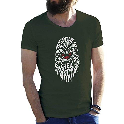 Friendly Bees Chewbacca Star Wars Verde Militar Camiseta para Hombre Large