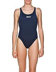 Arena W Solid Swim Tech High Costume Sportivo, Donna, Blu (Navy-White), 34