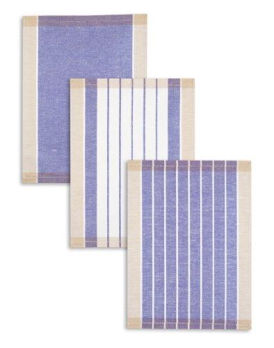 3-er Pack Jacquard Geschirrtuch, Halbleinen, TRIOLINO®, Streifen sortiert, blau, 50x70cm