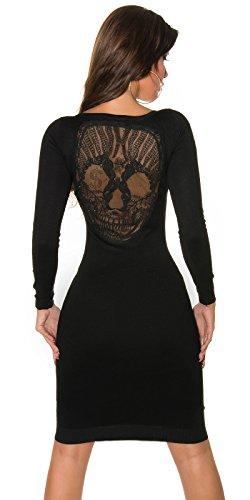 Feinstrick- Kleid mit Totenkopf Schwarz