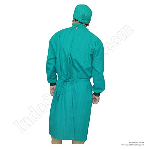 IndoSurgicals Reusable Surgeons Gown Set, Cotton with Face Mask & Cap