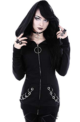 Sudaderas Moda Mujer Elegante 2019 Punk Manga Black Style Festiva...