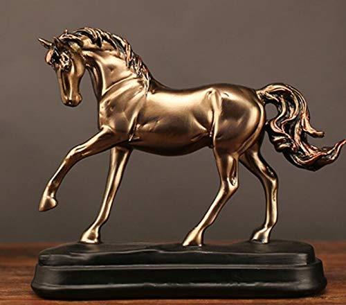 DKKHG Skulptur Vintage Harz Gold Pferd Statuen Figuren Ornamente Pferd Skulptur Handwerk Home Office Dekoration Zubehör Hochzeitsgeschenke -