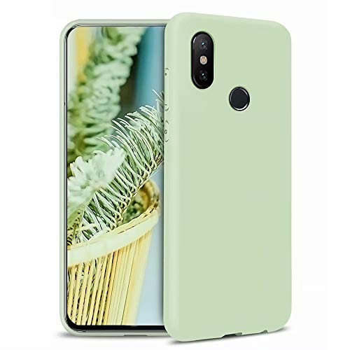 MOUTOUREN Compatible with Xiaomi Mi A2/Xiaomi Mi 6X Case Liquid TPU Silicone Gel Rubber Cover Shock-Absorption Bumper Slim Anti-Scratch Protective Shell, Matcha Green