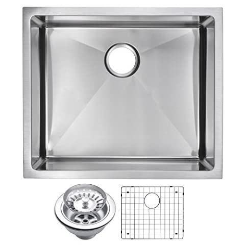 Water Creation SSSG-US-2320B 23 X 20 15 mm Corner Radius Single Bowl Stainless Steel Hand Made Undermount Kitchen Sink with Drain and Strainer by Water Creation