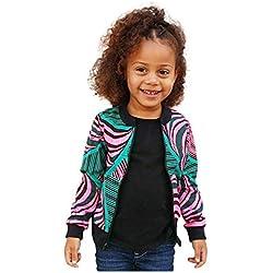 Storerine Veste Enfant Garçon 1-5 Ans Africain à Fleurs Imprimé Manteau Fille Blouson Manches Longues Zippé Légère Deguisement Trench Court Vêtements Bébé