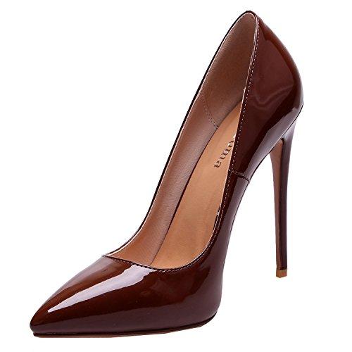 ZAPROMA Damenschuhe High Heel Spitzennahe Stiletto Pumps, Beige Caramel, 35