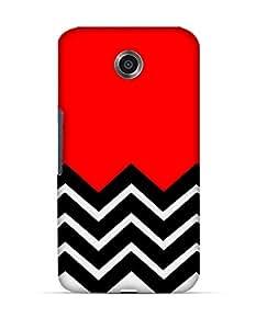 Black and white chevron pattern on red Google Nexus 6 case