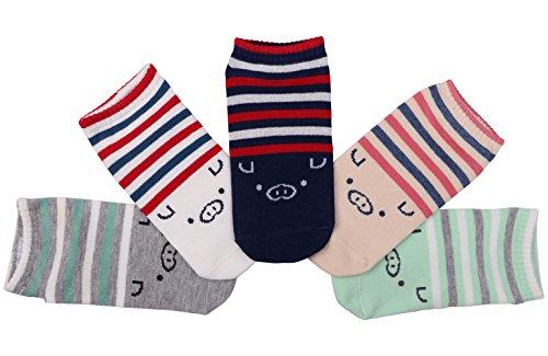 en Baumwolle Socken Kartoon Tier Schwein(5 Paare) (Schwein-2) (Schwein 2)