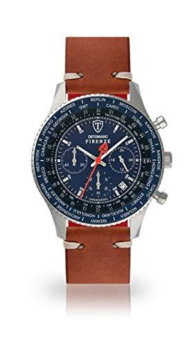 DETOMASO Firenze Herren-Armbanduhr Chronograph Analog Quarz silbernes Edelstahlgehäuse Blaues Zifferblatt - Jetzt mit 5 Jahre Herstellergarantie (Leder - Braun (Vintage Style))