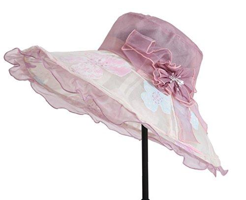Mme été Pliable Mince Dôme En Soie Chapeau De Soleil Tour De Chapeau à Large Bord purple