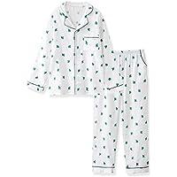DUKUNKUN Pijamas para Mujer Algodón Gasa Suelta, De Gran Tamaño Pantalones De Manga Larga Confort Informal Conjunto De Dos Piezas,M