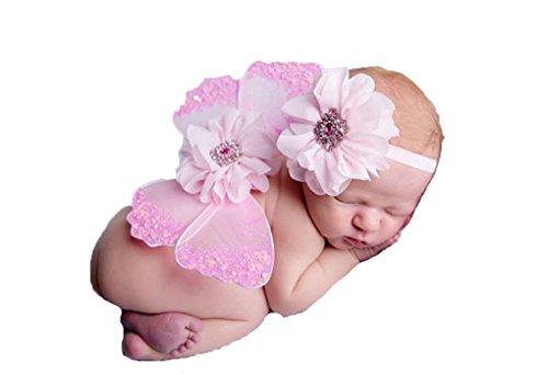 Neugeborene Baby Mädchen Blume Haarband mit Schmetterling Flügel Kostüm Prop Outfit für Fotoshooting (Mädchen Mit Kostüme Angel Flügeln)