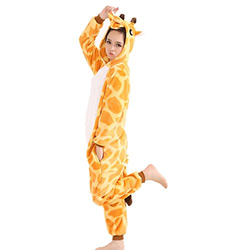 nzug, Unisex, Tier-Fleece-Anzug mit Kapuze, Cosplay-Kostüm, Pyjama für Kinder, Damen und Herren, giraffe (Giraffe Kind Kostüme)