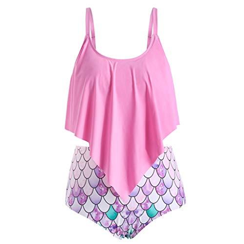 Damen Fischschuppen Drucken Bikini Set Zweiteiliger Bandeau Bademode High Waist Bikinihose Badeshorts Swimwear Sexy Hawaii Badeanzug Retro Tanga Badehose Strandkleidung Swimsuit(Rosa.S)