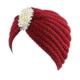 XuxMim Frauen Damen Retro Winter Warme Strickmütze Turban Krempe Hut Mütze Blume