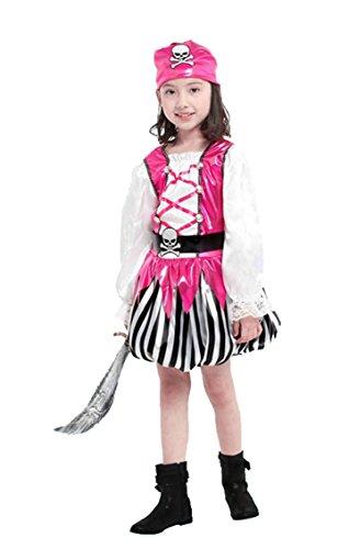 Pretty Princess Mädchen Kostüm Piraten Kostüm Kinder Rosa Piraten Schädel Kostüm 3-4 Jahre (110cm) Kleid Kopftuch Gürtel 3 Stück