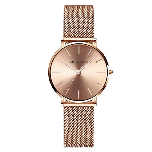 Orologi da donna,l'ananas rosa oro acciaio inossidabile maglia braccialetto regolabile dimensione libera lussuoso quarzo attività commerciale orologi da polso con pacco regalo wristwatches (rosa oro)