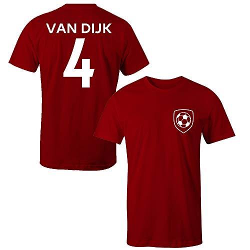 Virgil Van Dijk 4 Kinder T-Shirt Liverpool Style Player Gr. Medium, rot