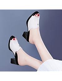 Jqdyl Tacones The New Thick con Zapatos de Tacón Alto Sandalias con Cabeza de Pescado out of Summer Fashion, 37...