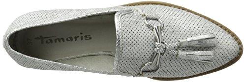 Tamaris Damen 24705 Slipper Weiß (WHITE MET.STR. 106)