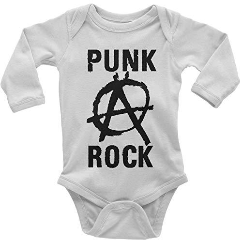 (Mikalino Babybody mit Spruch für Jungen Mädchen Unisex Langarm Punk Rock Anarchy | handbedruckt in Deutschland | Handmade with Love, Farbe:Weiss, Grösse:80)