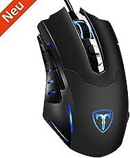 Holife Gaming Maus, [Neue Version] Gamer Maus 7200DPI PC Gaming Maus Hohe Präzision für Pro Gamer mit 7 programmierbaren Tasten/LED/ ergonomisches Design/USB-Wired Maus Optisch (Schwarz)