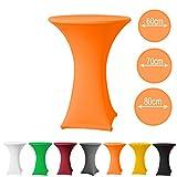 Stehtischhusse Stretch PREMIUM Qualität in Farbe orange und Durchmesser 60-65 für Bistrotisch/Stehtisch