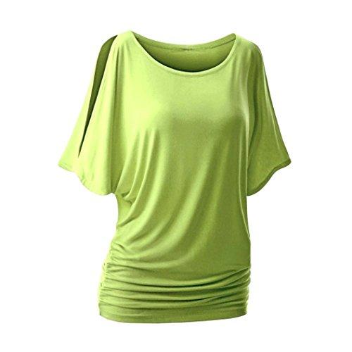 Tonsee Femmes au large de l'épaule manches courtes solide Top Blouse recueillent taille T-shirt Vert
