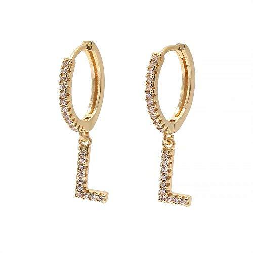 Weihnachten Vergoldet Initial Alphabet Letter Hoop Tropfen Baumeln Ohrringe Schmuck Zubehör für Frauen Mädchen Weihnachtsgeschenk