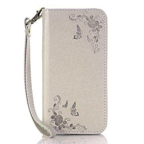 Pour iPhone 7, Rose Flowers en relief, motif en cuir PU JING ( Color : Darkblue ) Gray