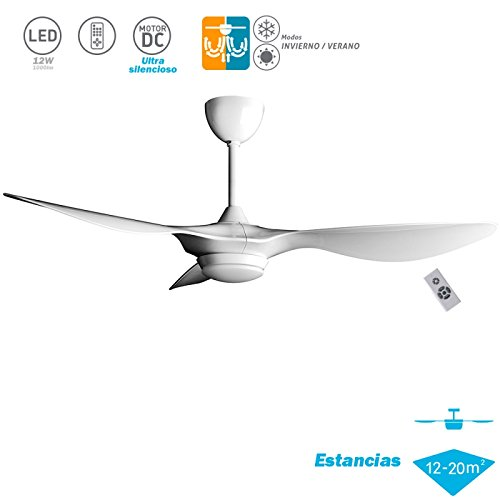 DC ceiling fan with light Helix Series White