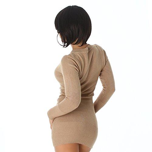 Robe-pull courte avec col en V Taille unique Marron - Cappuccino