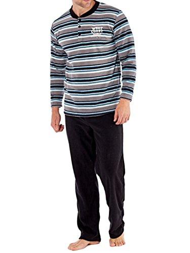 Harvey James Herren Schlafanzug Graue Streifen