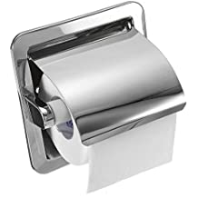 Rishil World Recessed Toilet Paper Roll Holder Tissue Brushed Nickel Loaded Stand
