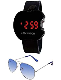 Faas Unisex Combo Pack Of Sunglasses For Men And Women And LED Digital Black Dial Apple Shape Kids Watch (0046)